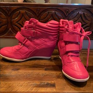 MIA Pink Leather Wedge Sneakers, slightly used